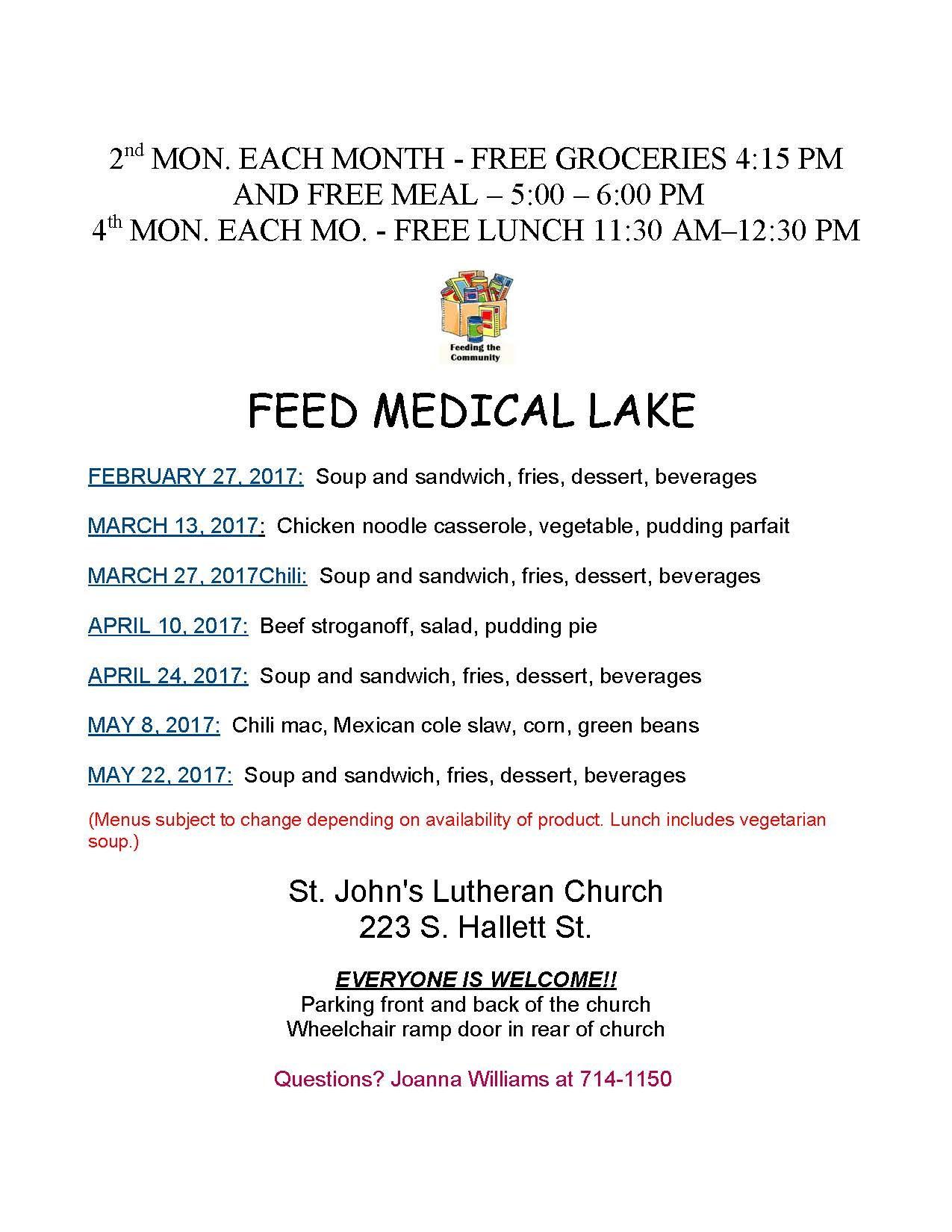 Feed Medical Lake Flyer Valid Through May 22