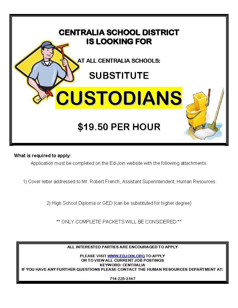 Sub Custodians Needed Flyer