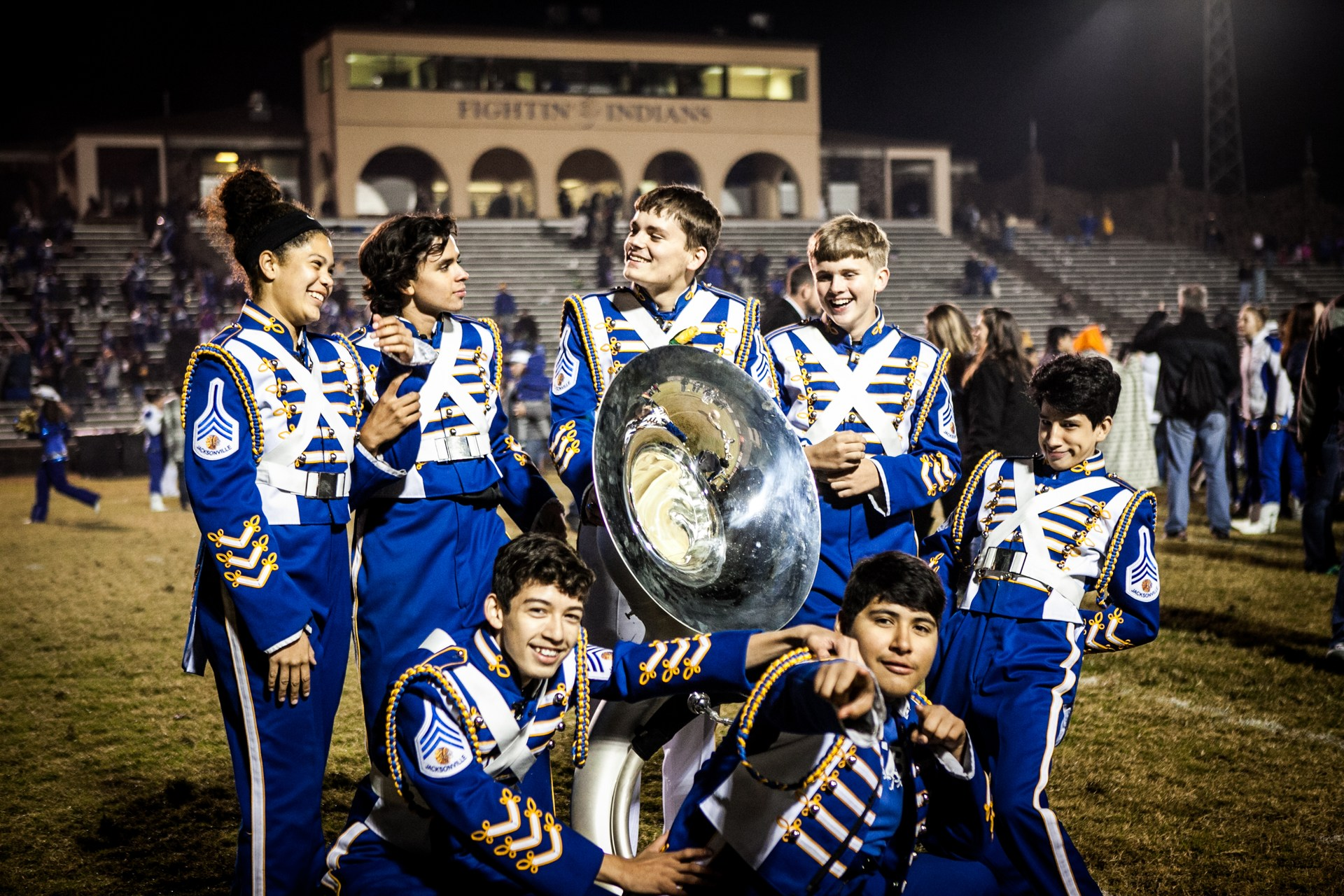 Tuba section on the field