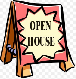 Clip art of a sign that reads open house