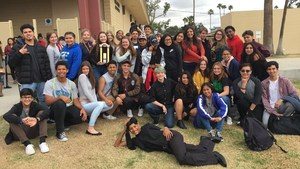 Highland Drama Rocks poses for a picture after competing at the 2017 Peg Paul's Shakespeare Festival at Foothill High School.