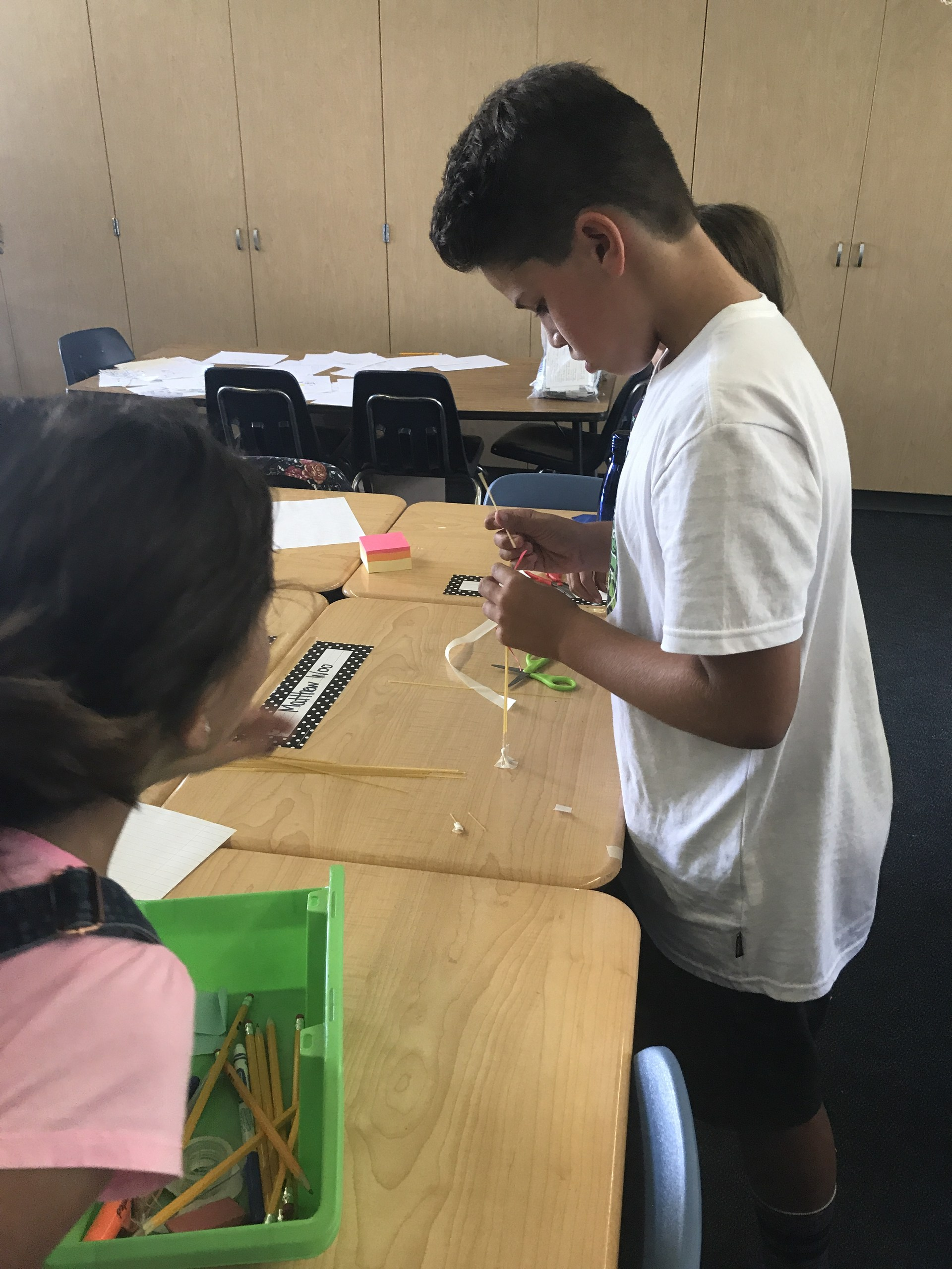 Students completing STEM activity