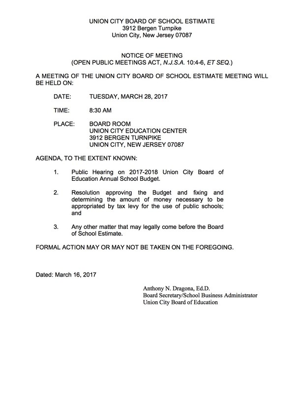 Public Notice of Meeting for tuesday March 27, 2017