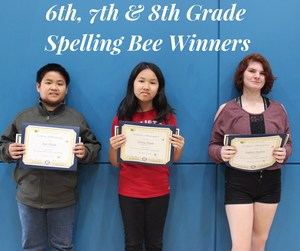 6th, 7th & 8th Grade Spelling Bee Winners