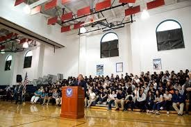 students gathered to listen to Governor Christie at the Jose Marti Freshman Academy