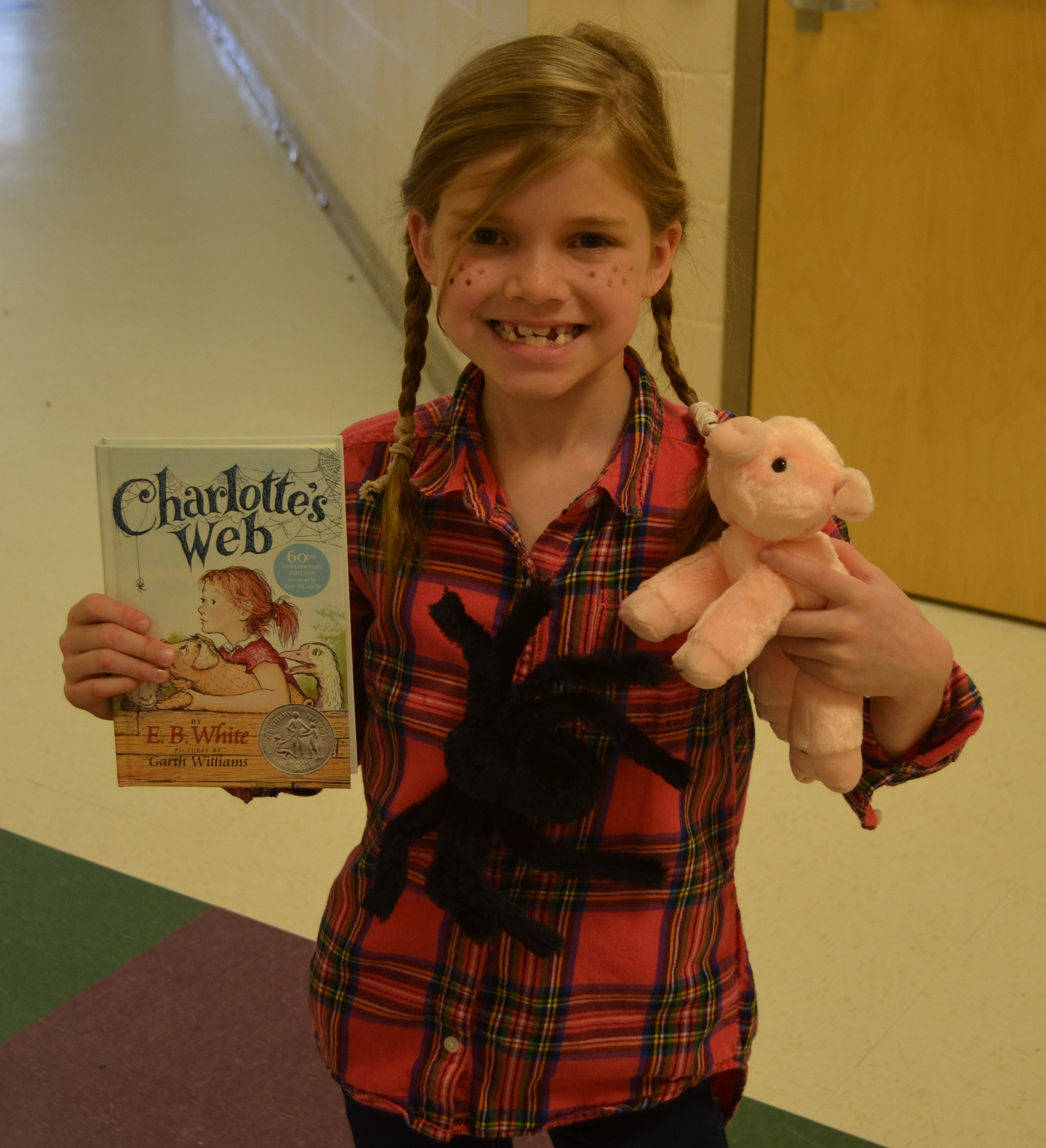 BES students dresses as Fern from Charlotte's Web for Read Across America Day.
