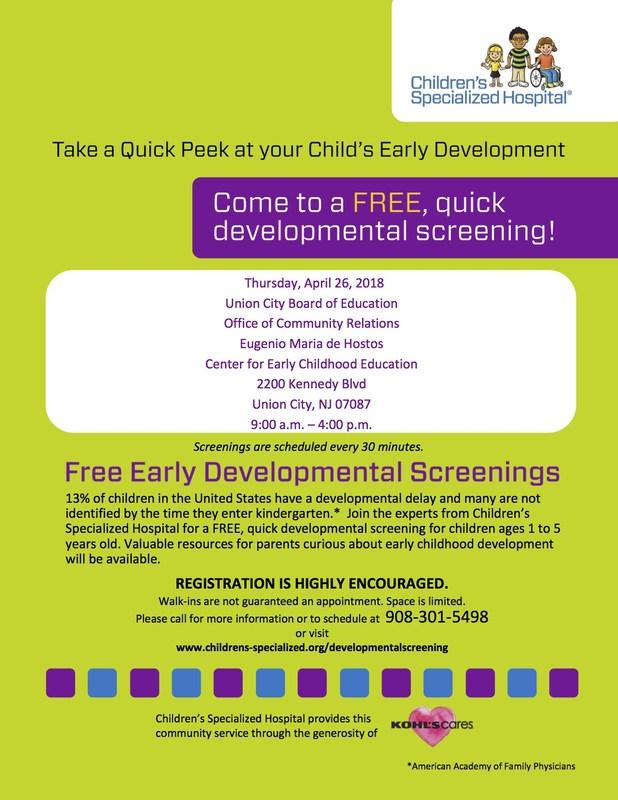 Free Early Development Screenings Flyer