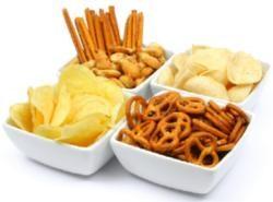 snacks chips and pretzels