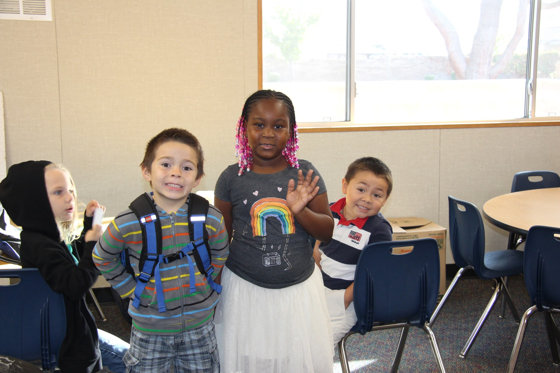 Park Hill Elementary students settle into their temporary classroom