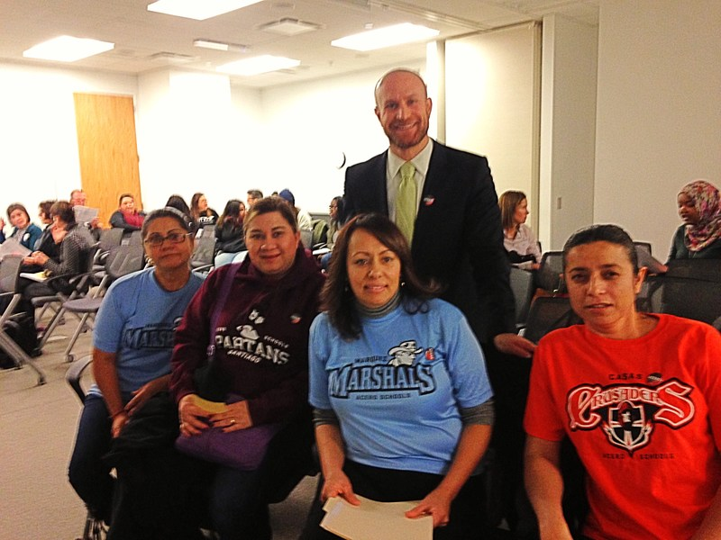 Four Acero parents and Chief Education Officer at the CPS Board Meeting
