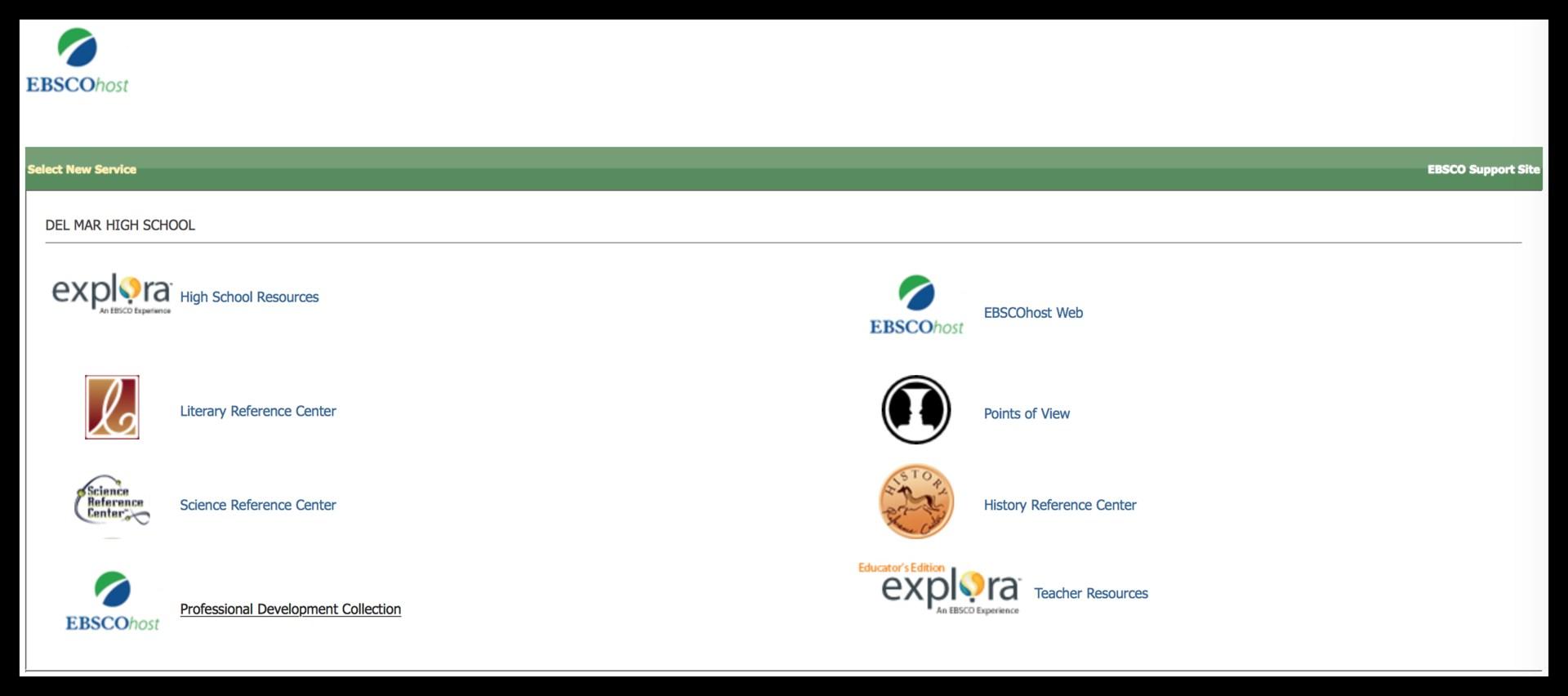 Image of EBSCOhost website landing page