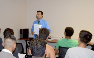 Pathways Work-based Learning Coordinator Ruben Alvarez talks to students about SunPower Solar Energy Academy