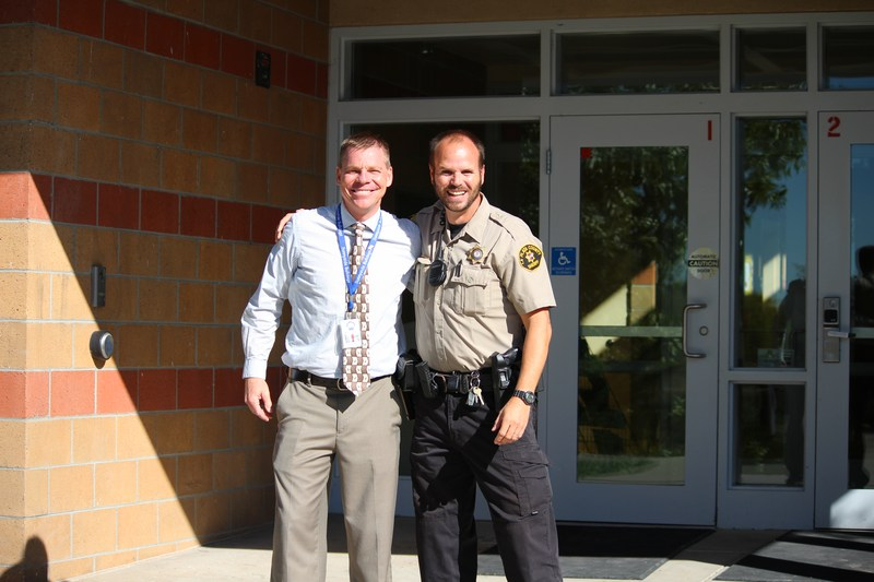 Sunnyside Principal Pat Hyatt with School Resource Officer from the Sheriff's Office, Officer Latham.