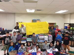 AVID students at Oak Meadows Elementary collected several school supplies for Barber Middle School in Dickinson, Texas, as they recover from Hurricane Harvey.