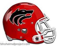 Football helmet with wolf logo