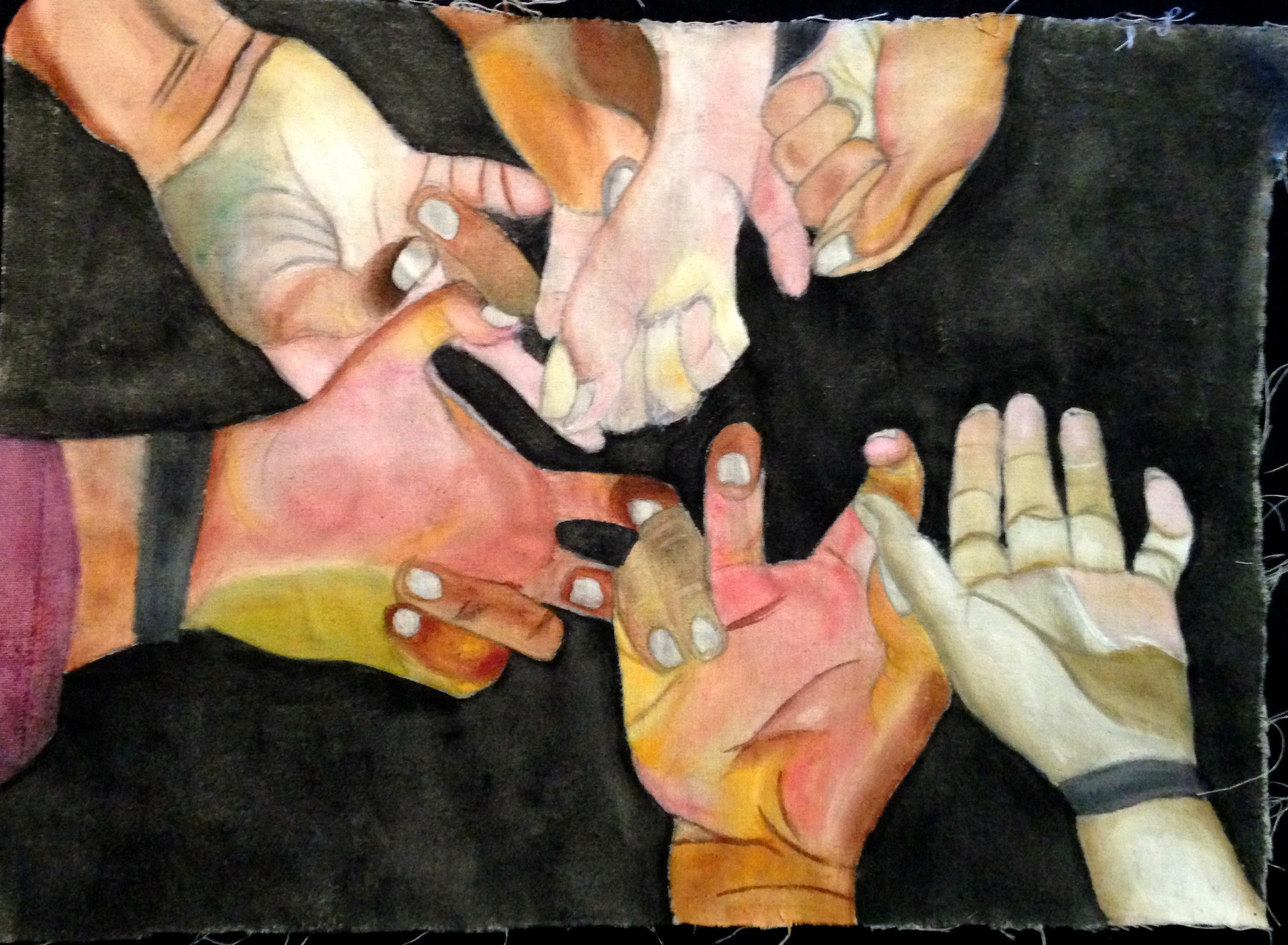mixed media art of hands