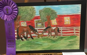 Painting of horses eating outside of barn