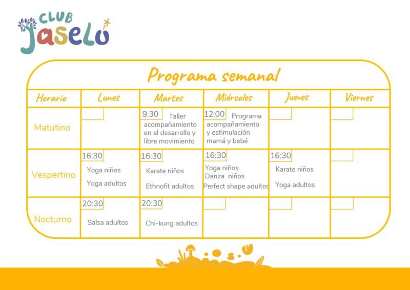 Calendario semanal Club Jaselú Featured Photo