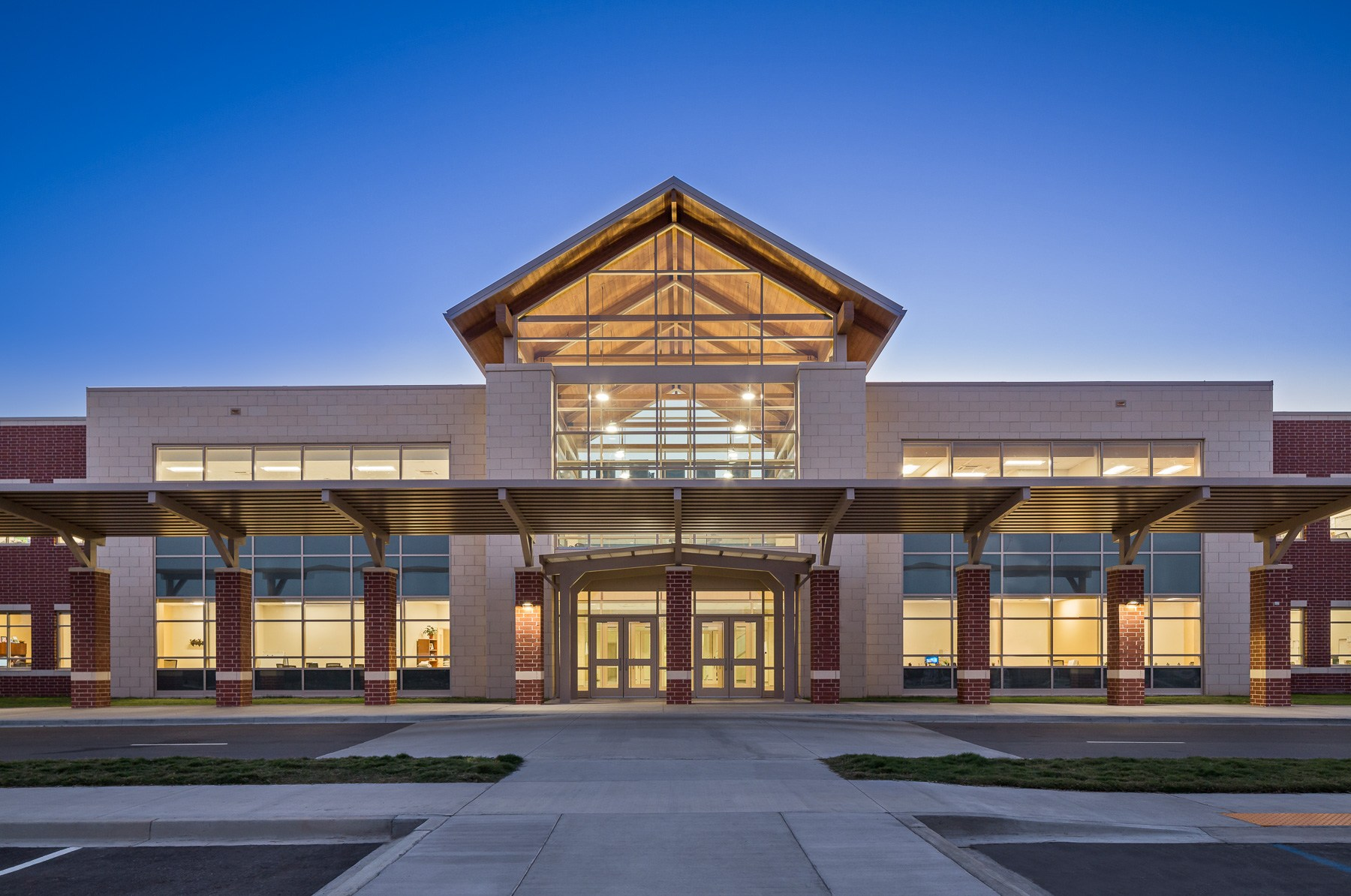 Cayce Elementary - Front Entrance and Student Drop Area at Night