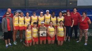 Hemet High School's Girls' Tennis Team and staff with their CIF Runner Up plaque.