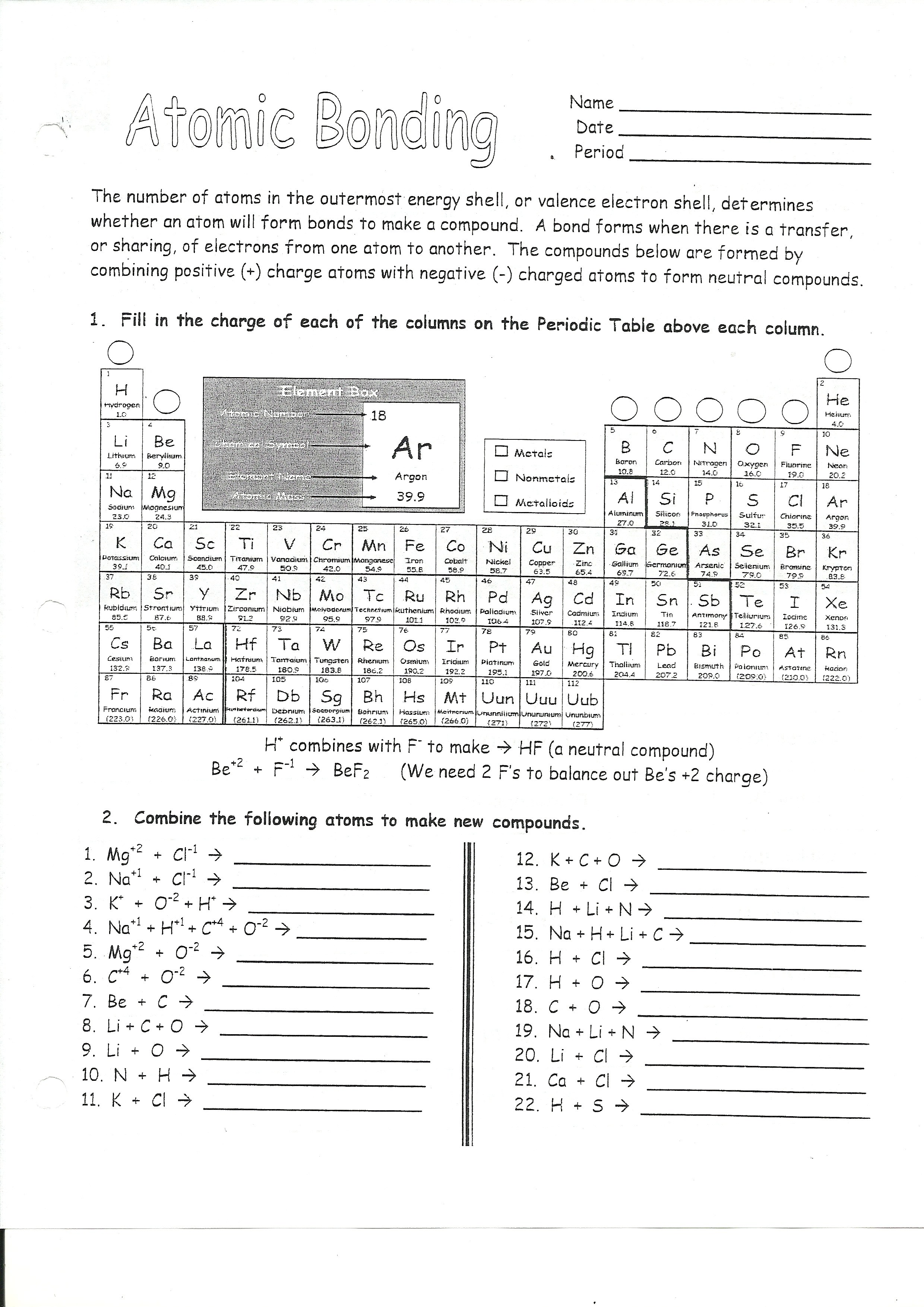Chemistry Counting Atoms In Compounds Worksheet 70 1 Answers - The ...