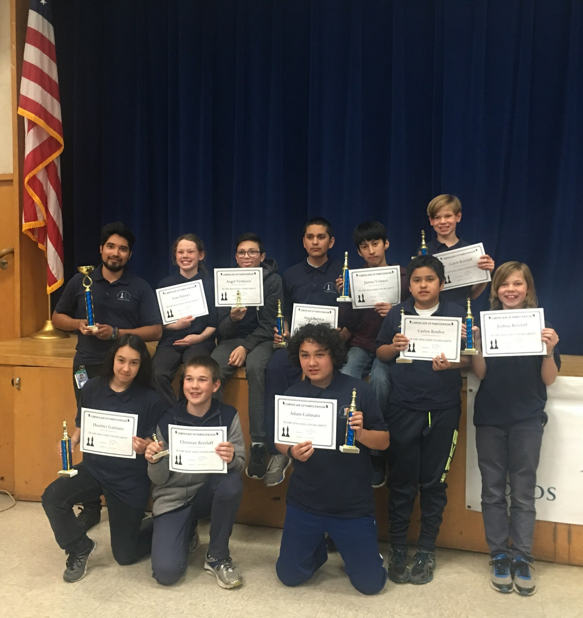 Dual Language Academy Chess Club Team Picture after their victory.