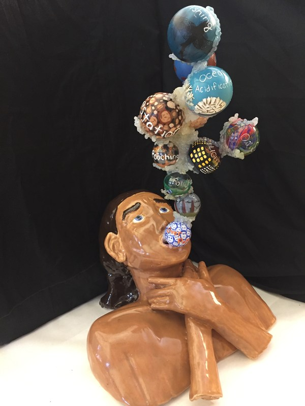 Photo of sculpture created by Del Mar Student, Siena Inaba, accepted into the New Museum Los Gatos Prestigious Art Show