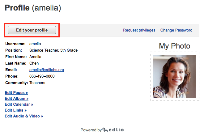 Click Edit your profile