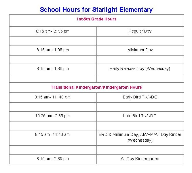 School Hours for Starlight Elementary