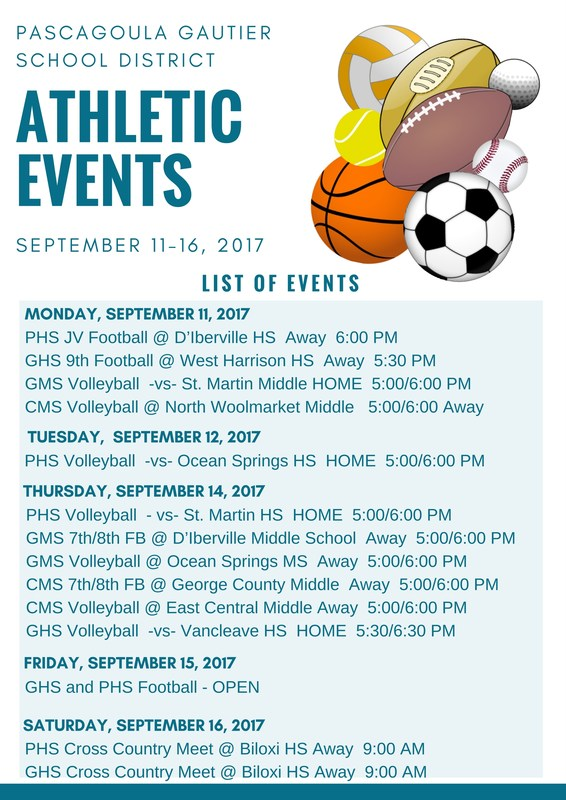 Athletic Events for Week of September 11