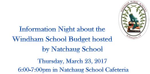 Budget Info Night hosted by Natchaug School/ Noche Informativa Sobre El Presupuesto de Educación Thumbnail Image