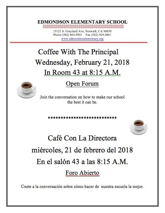 Coffee With The Principal/Café Con La Directora Featured Photo