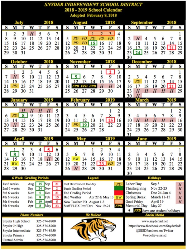 2018-19 School Calendar Announced Featured Photo