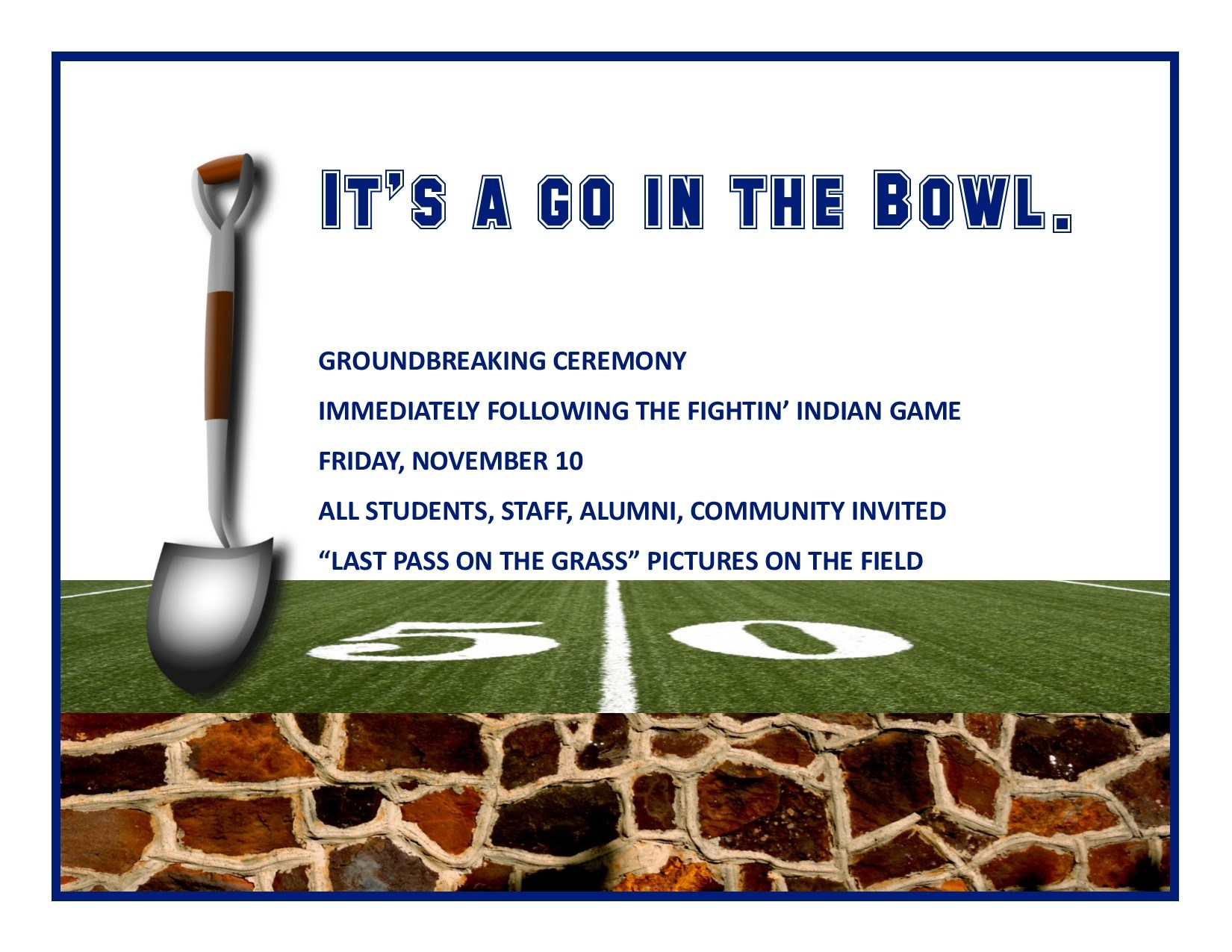 Notice about groundbreaking ceremony on November 10
