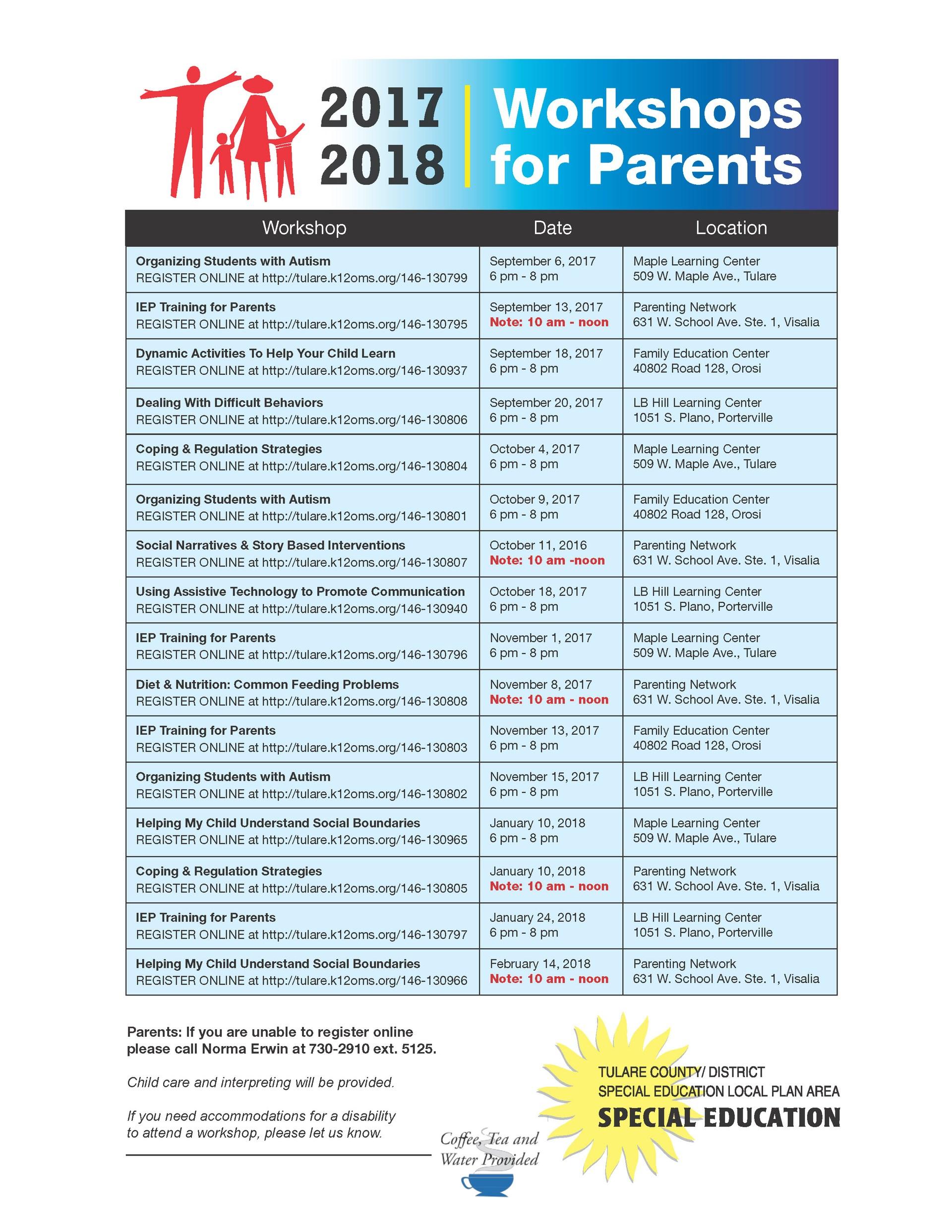 Special Education Parent Workshop