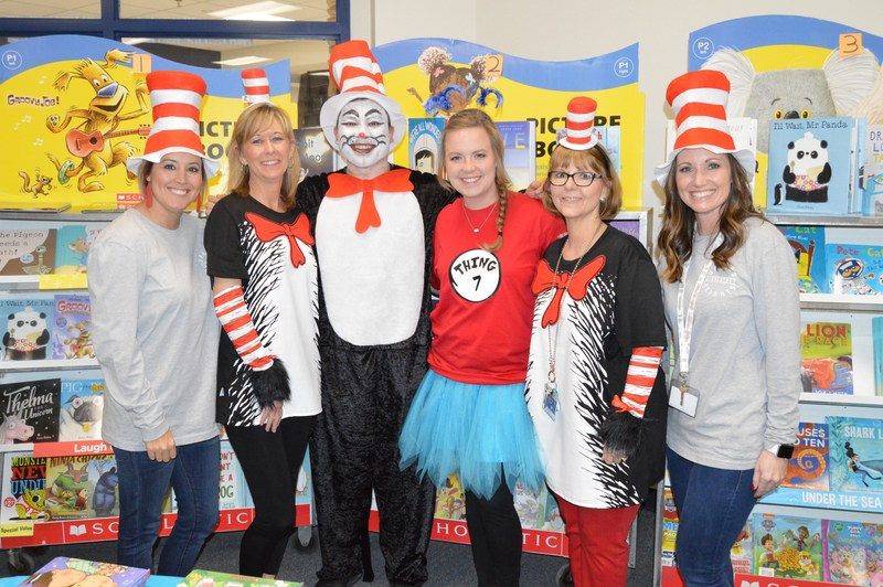 Staff members dressed up for Dr. Suess day