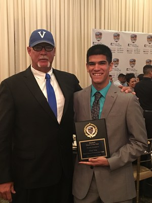 Noel and Coach David Gilpin after Noel received Baseball Player of the Year honors at banquet.