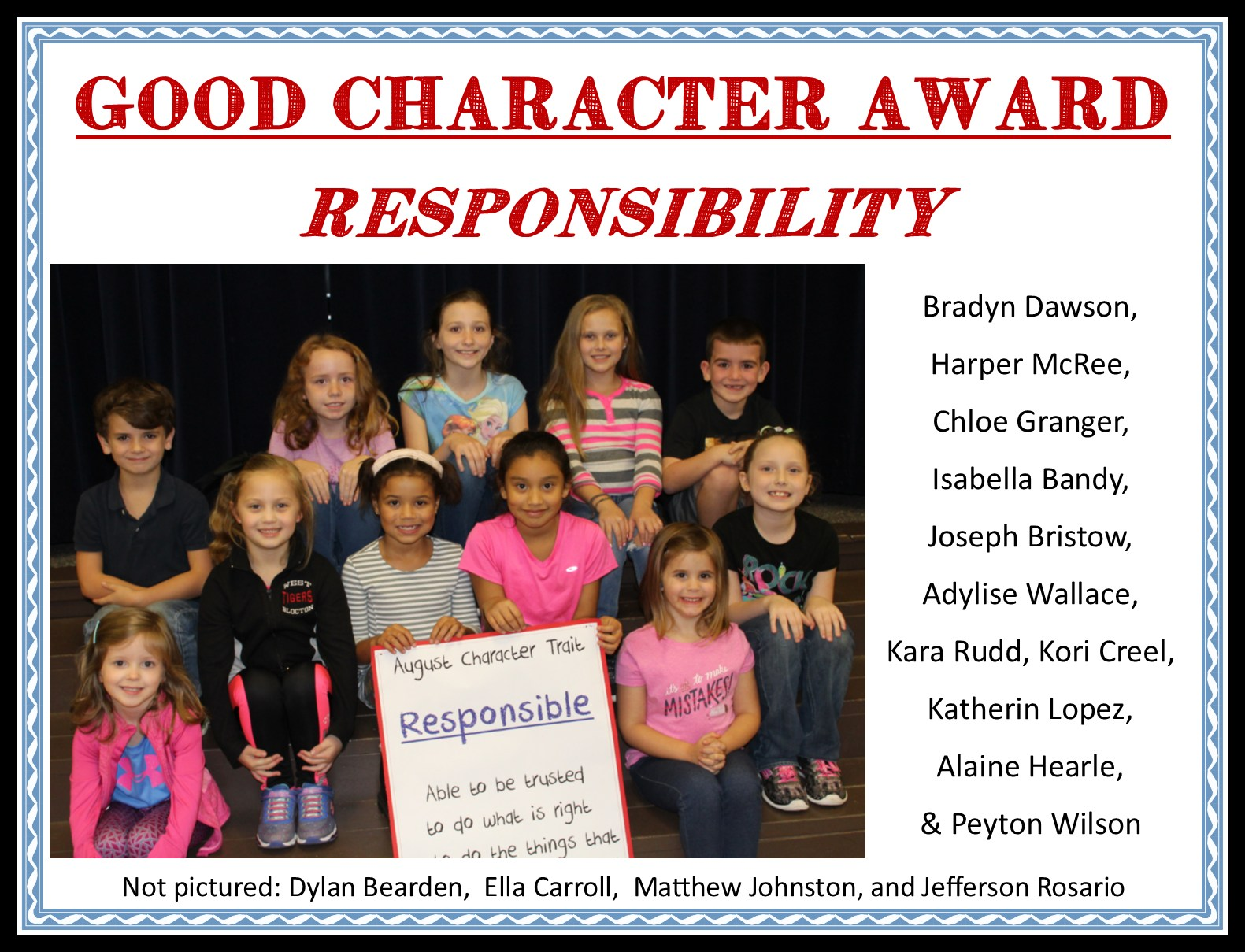 Students pictured who received good character award for being responsible