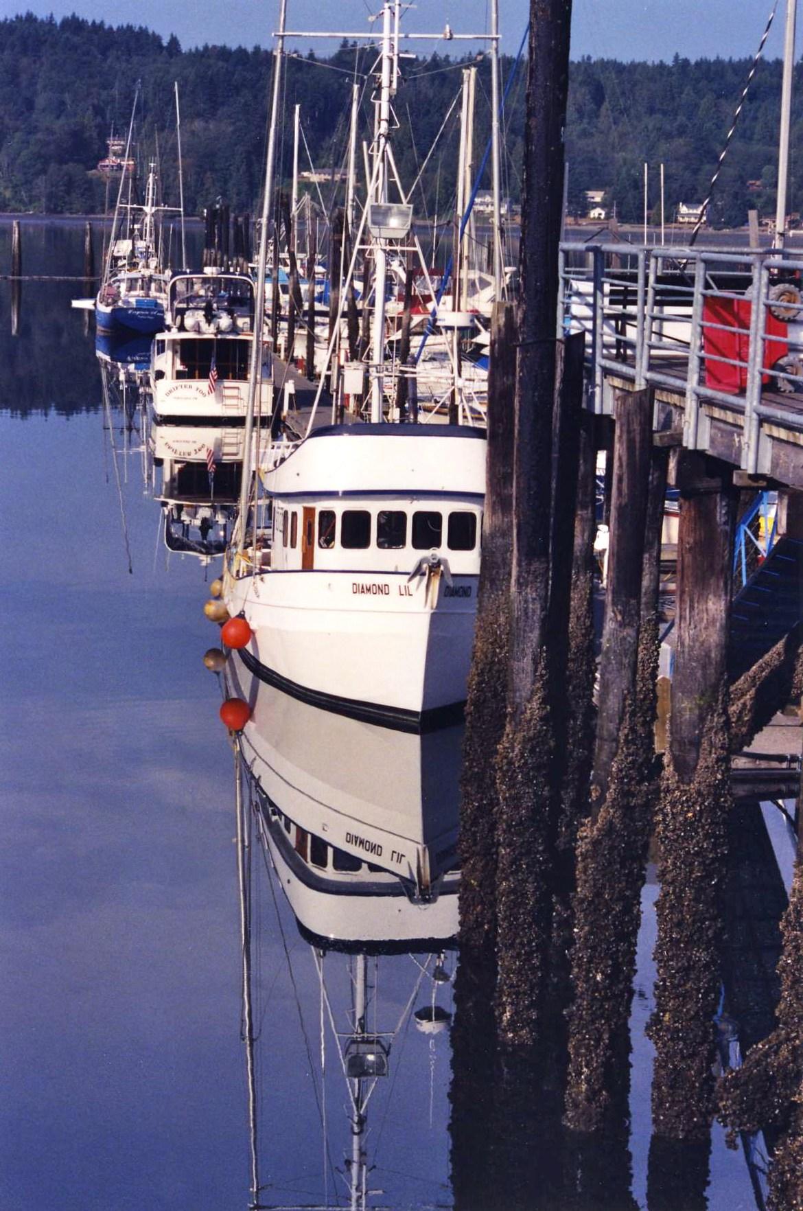 Photo of fishing boats at Poulsbo, WA docks.