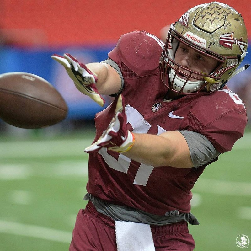 Ryan Izzo catches a pass for Florida State