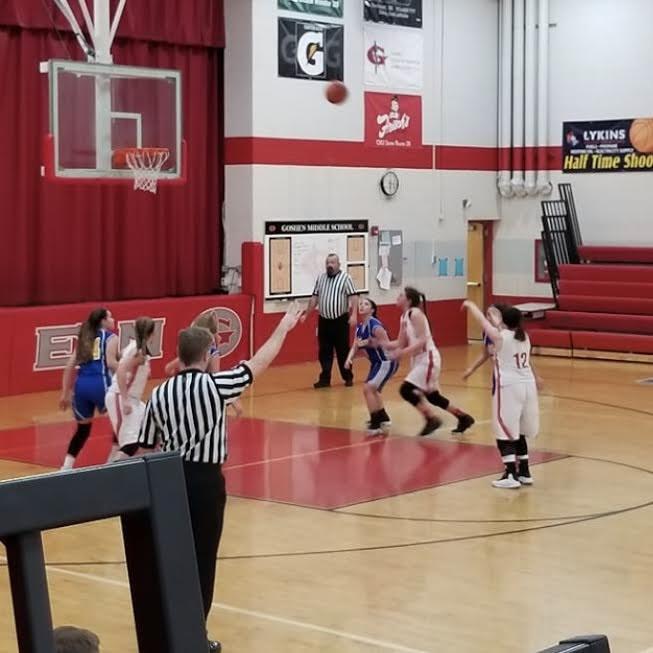 8th grader Hailey Kilgore at the free throw line