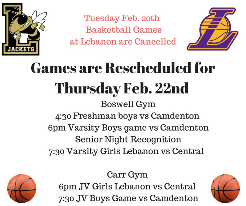 Basketball Games at Lebanon for Tuesday Night have been Cancelled Featured Photo