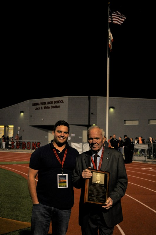 Former Baldwin Park Unified board member and mayor Jack B. White stands with his grandson, Jack, after the dedication of Sierra Vista High School's stadium in White's honor on Sept. 22. White got the idea to construct top-of-the-line stadiums in Baldwin Park after watching his grandson's team play in a beautiful stadium in San Diego.
