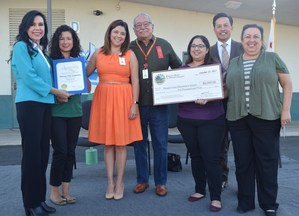 (Left to right) Assemblywoman Blanca Rubio presents a $5,000 grant from the Barona Band of Mission Indians to Pleasant View Elementary teacher Karisa Cuenca, Principal Linda Heredia, Baldwin Park Unified Board Member Santos Hernandez, Jr., Board Vice President Teresa Vargas, Superintendent Dr. Froilan N. Mendoza and Board President Christina Lucero.