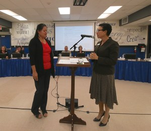 Catalina Lopez and Dr. LaFaye Platter at the Board Meeting in Anza.