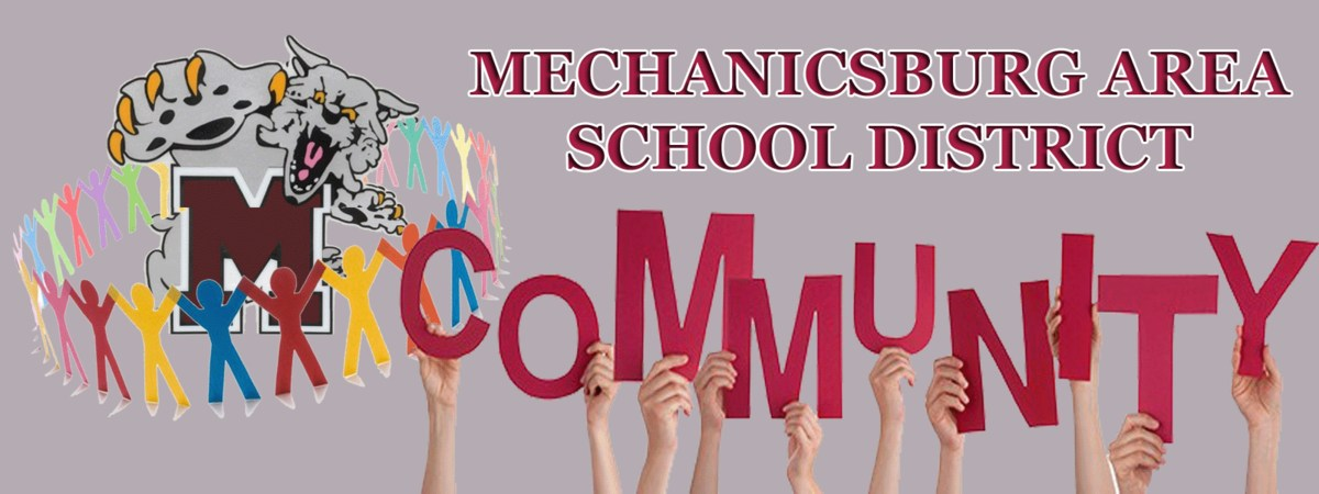 Mechancisburg Community Graphic with Wildcat and Students