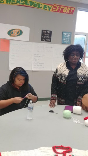 Student Crocheting with Edna Wigfall