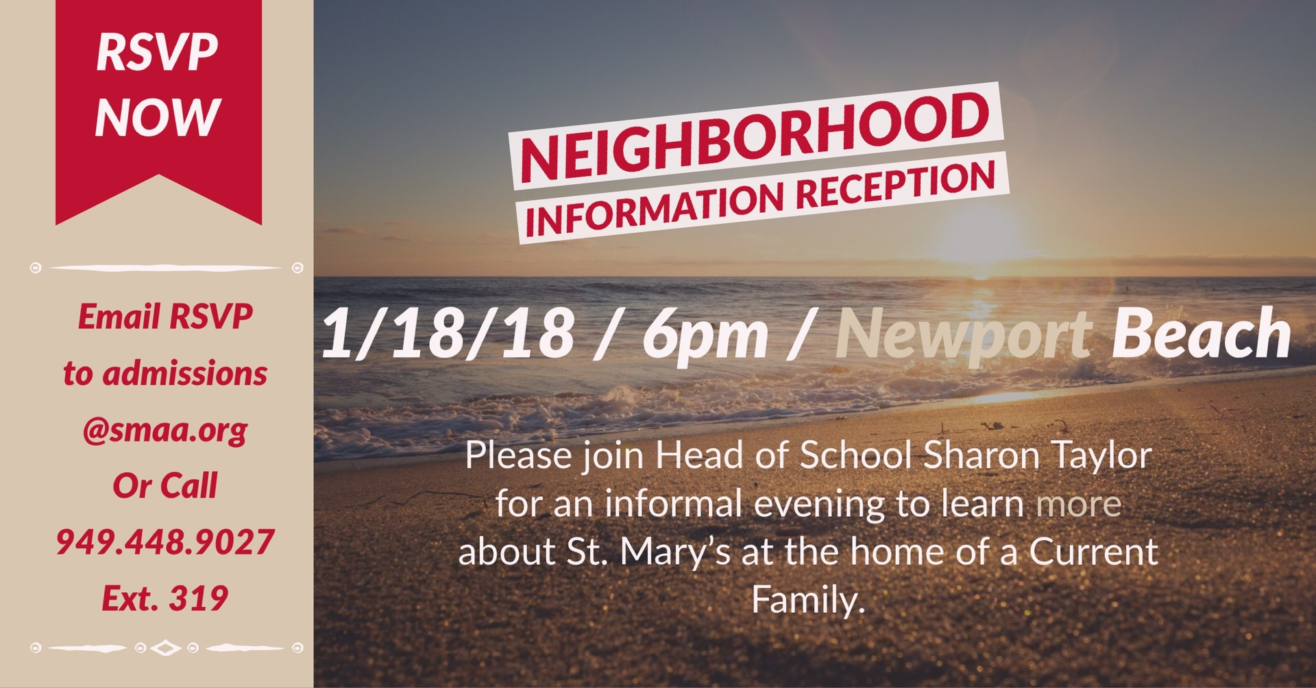 Neighbohood Information Reception ad with Newport Beach sunset photo
