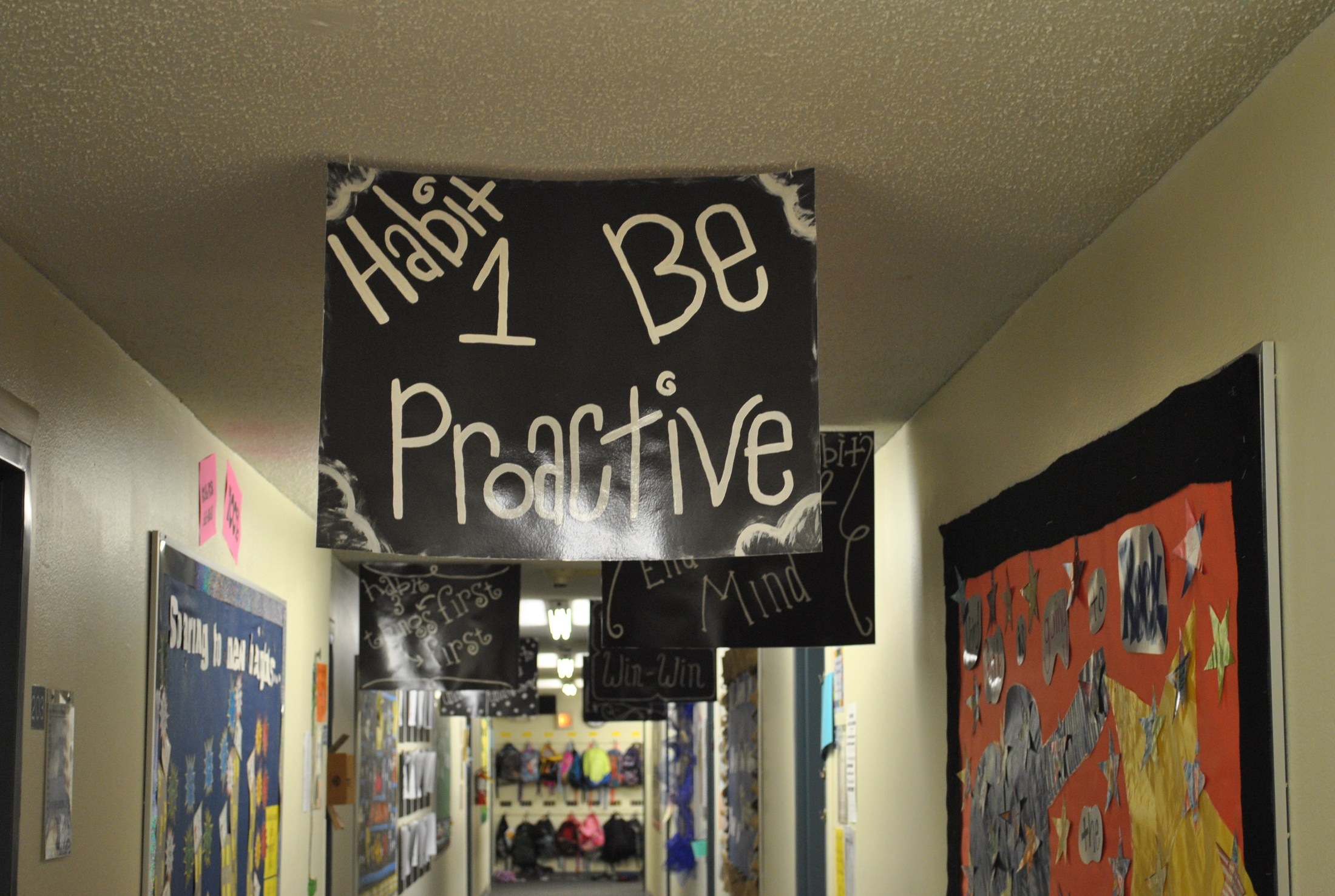 7 Habits Posters in school hallway
