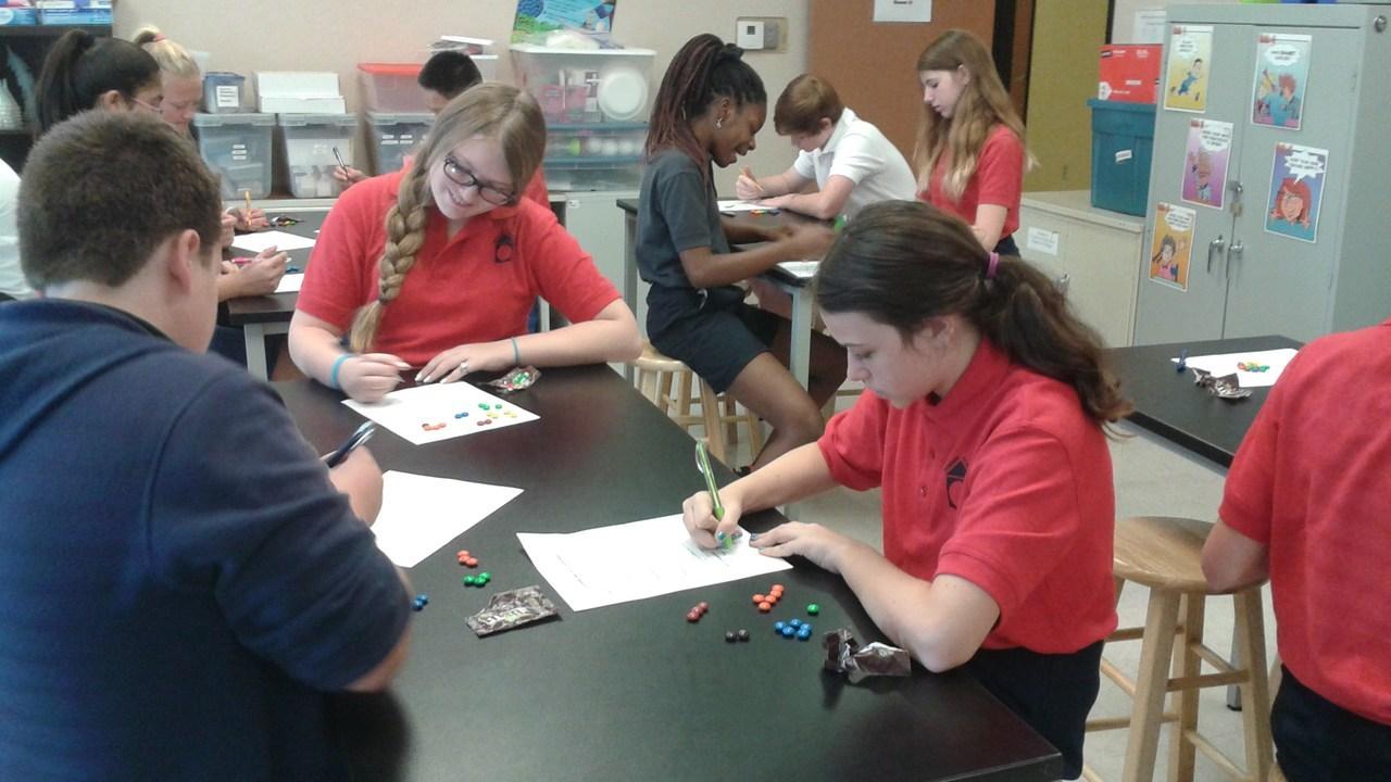 Students at desks doing school work